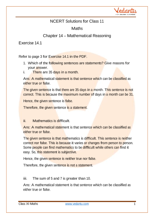 Access NCERT Solutions for Class 11 Chapter 14 – Mathematical Reasoning part-1