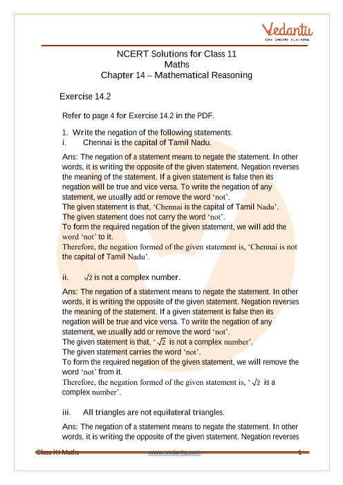 NCERT Solutions for Class 11 Maths Chapter 14 Mathematical Reasoning (Ex 14.2) Exercise 14.2 part-1