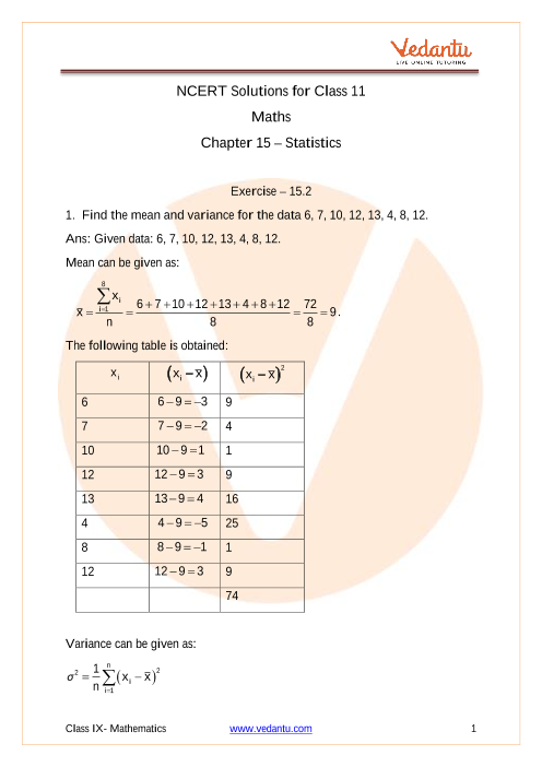 Access NCERT Solutions for Class 11 Maths Chapter 15 – Statistics part-1