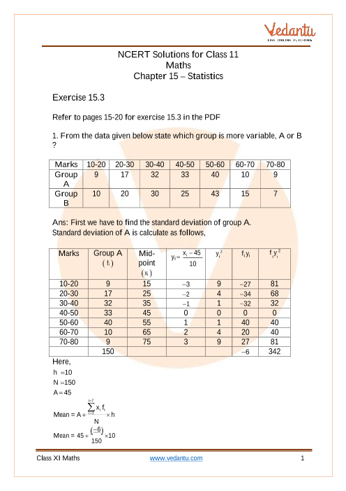 NCERT Solutions for Class 11 Maths Chapter 15 Statistics (Ex 15.3) Exercise 15.3 part-1