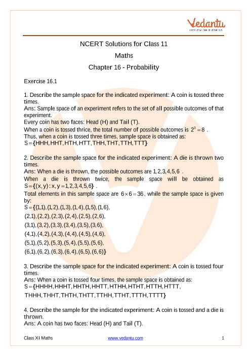Ncert Solutions For Class 11 Maths Chapter 16 Probability Free Pdf