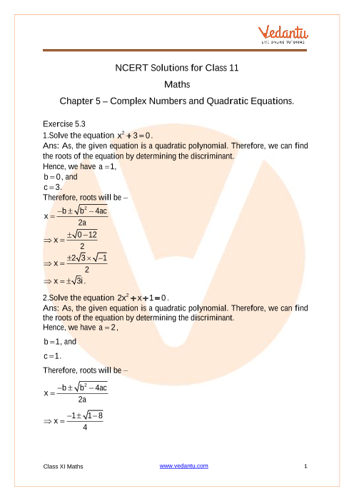 Access NCERT Solutions for Class 11 Maths Chapter 5 – Complex Numbers and Quadratic Equations. part-1