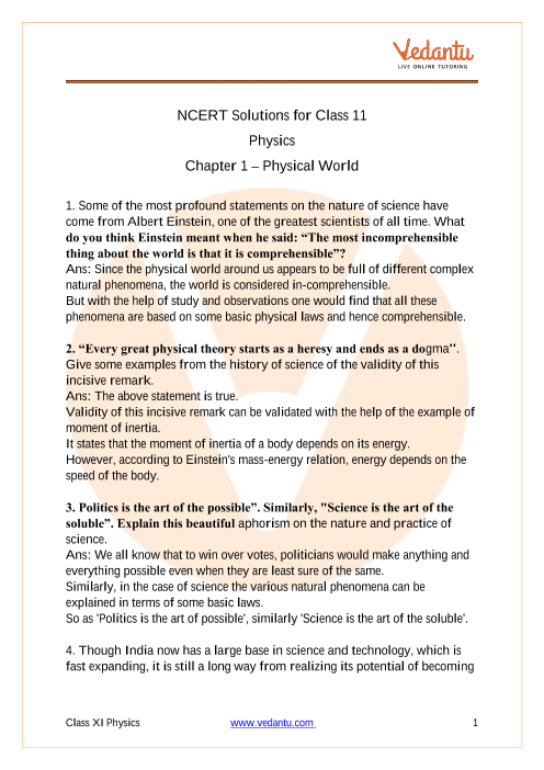 NCERT Solutions for Class 11 Physics Chapter 1 Physical
