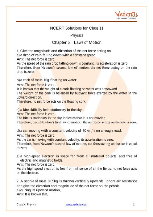 NCERT Solutions for Class 11 Physics Chapter 5 Laws of Motion part-1