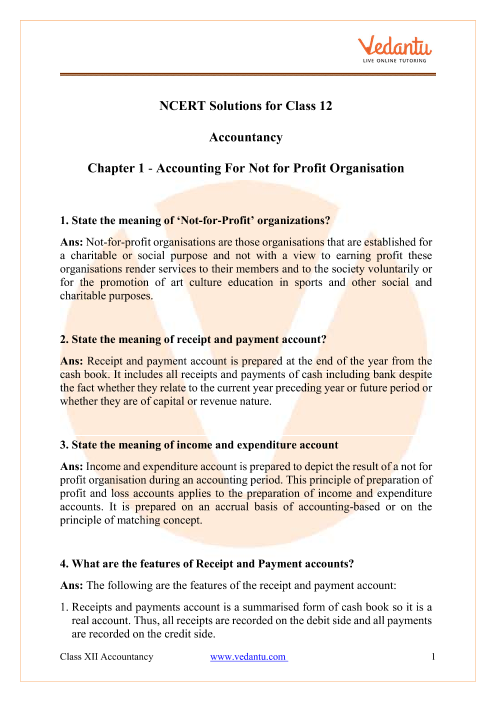 NCERT Solutions for Class 12 Accountancy Chapter 1 part-1