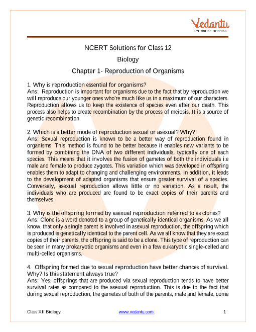 Class 12 NCERT Solutions for class 12 Biology Chapter 1- Reproduction of Organisms part-1