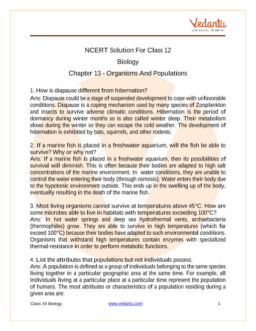 NCERT Solutions for Class 12 Biology Chapter 13 - Organisms and Populations part-1