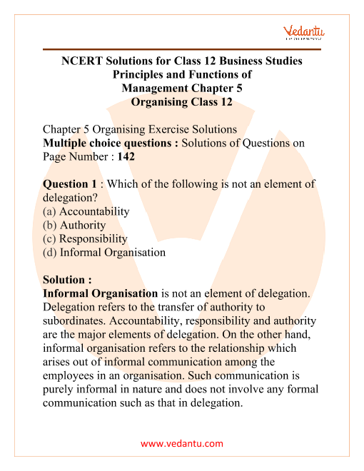 NCERT Solutions for Class 12 Business Studies Chapter 5 Organising part-1