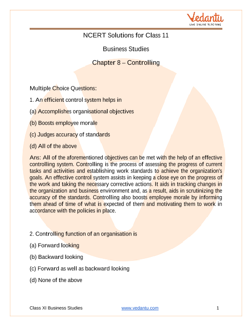 Access NCERT Solutions for class 12 Business Studies Chapter 8 – Controlling part-1