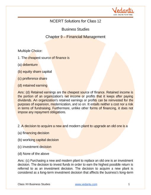 NCERT Solutions for Class 12 Business Studies Chapter 9 Financial Management part-1