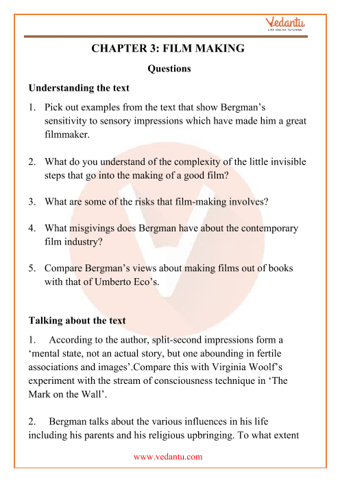 NCERT Solutions for Class 12 English Kaleidoscope Chapter 3 part-1