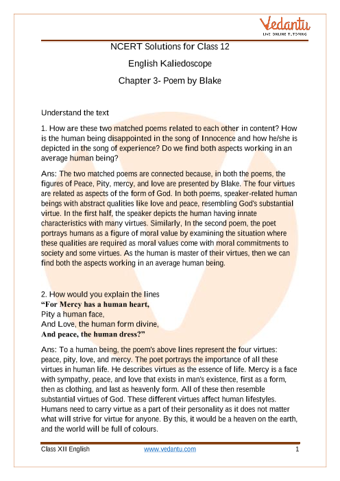 NCERT Solutions for Class 12 English Kaliedoscope Poetry Chapter 3 part-1