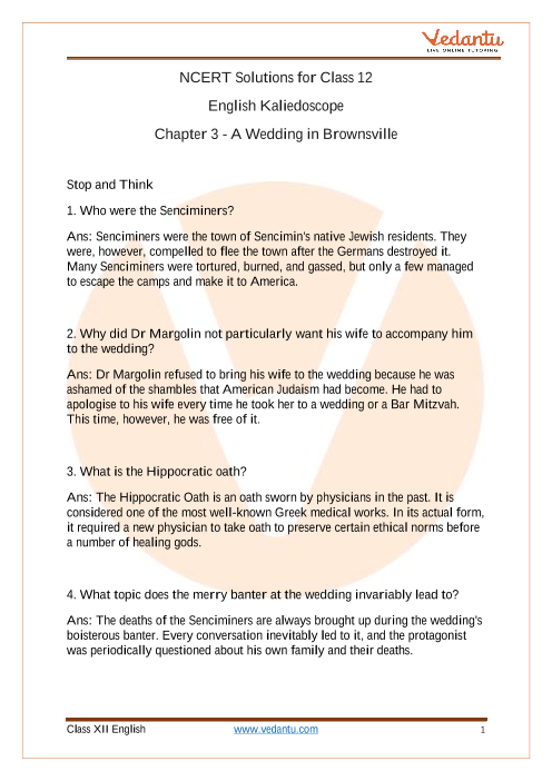 NCERT Solutions for Class 12 English Kaliedoscope Short Stories Chapter 3 (2) part-1