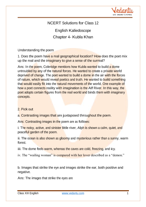 Access NCERT Solutions For Class 12 English Chapter 4 Kubla Khan part-1