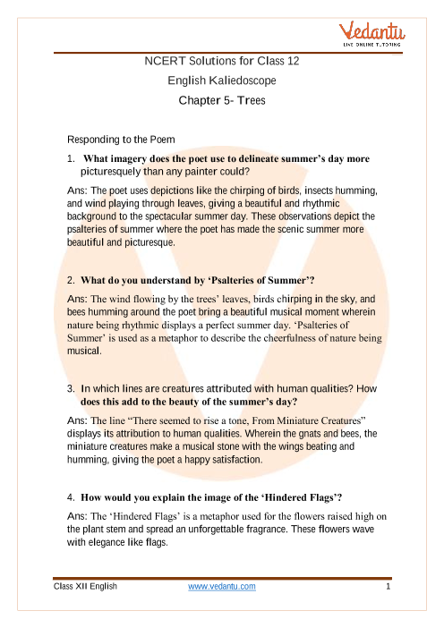 Access NCERT Solutions For Class 12 English Chapter 5 Trees part-1