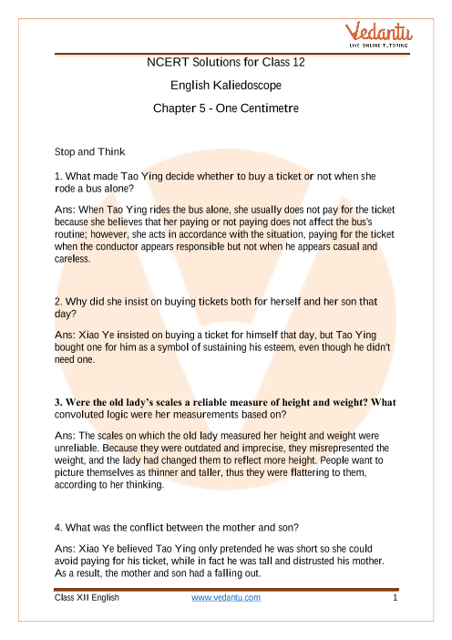 NCERT Solutions for Class 12 English Kaliedoscope Short Stories Chapter 5 part-1