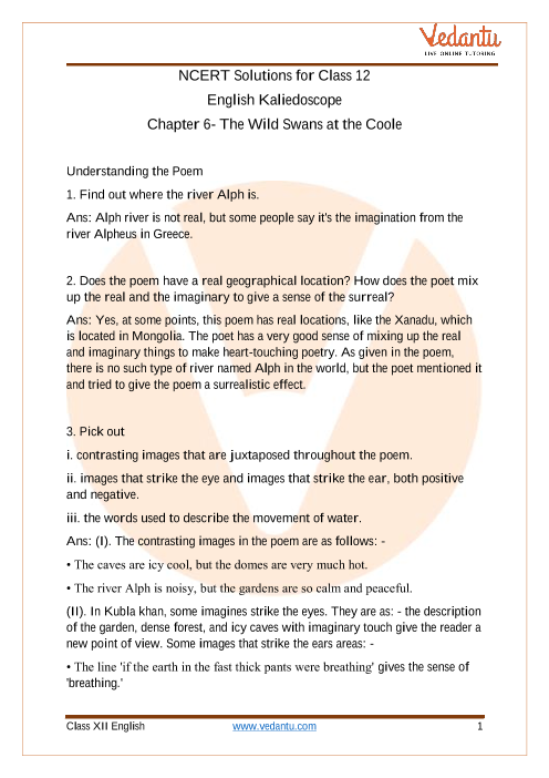 Access NCERT Solutions For Class 12 English Kaliedoscope Chapter 6 The Wild Swans at the Coole part-1