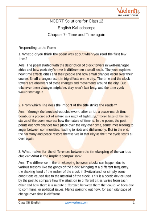 Access NCERT Solutions For Class 12 English Kaliedoscope Chapter 7 Time and Time Again part-1