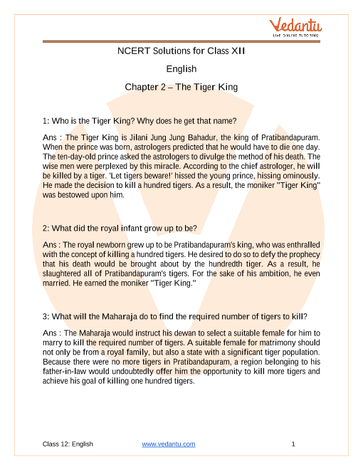 Access NCERT Solutions For Class 12 English  Chapter 2 – The Tiger King part-1