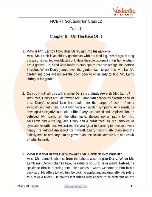 Access NCERT Solutions For Class 12 English Chapter 6 – On The Face Of It part-1