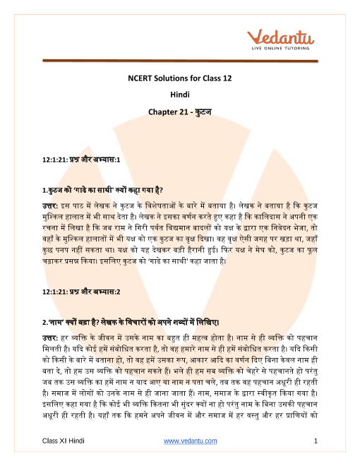 NCERT Solutions for Class 12 Hindi Antra Chapter 21 part-1