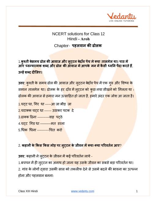 NCERT Solutions for Class 12 Hindi Aroh Chapter 14 Pahelwan ki Dholak part-1