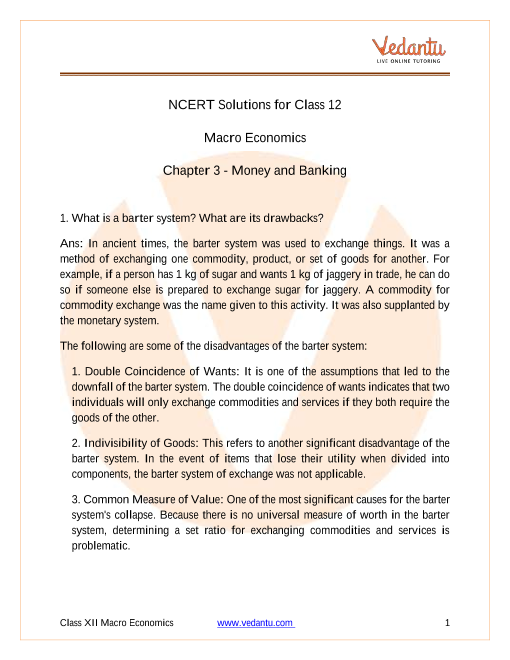 NCERT Solutions for Class 12 Macro Economics Chapter 3 Money and Banking part-1