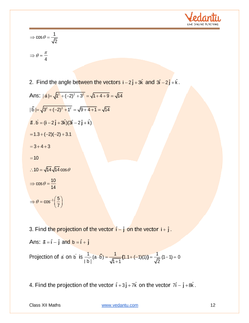 NCERT Solutions for Class 12 Maths Chapter 10 Vector Algebra