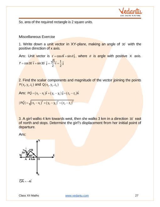 NCERT Solutions for Class 12 Maths Chapter 10 Vector Algebra