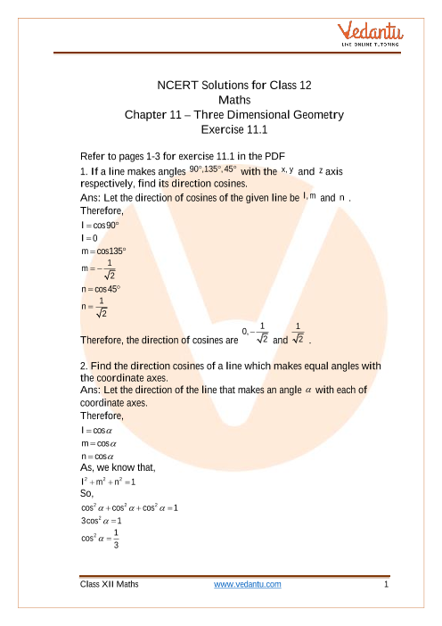 NCERT Solutions for Class 12 Maths Chapter 11 Three Dimensional Geometry (Ex 11.1) Exercise 11.1 part-1