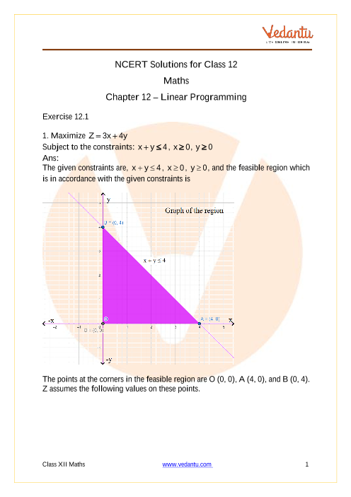 NCERT Solutions for Class 12 Maths Chapter 12 Linear
