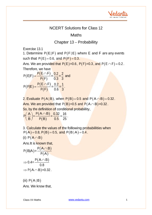 Access NCERT Solutions for Class 12 Maths Chapter 13 – Probability part-1