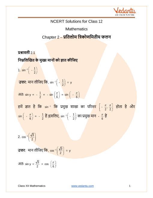 NCERT Solutions  for Class 12 Maths Chapter 2 Inverse Trigonometric Functions in Hindi part-1