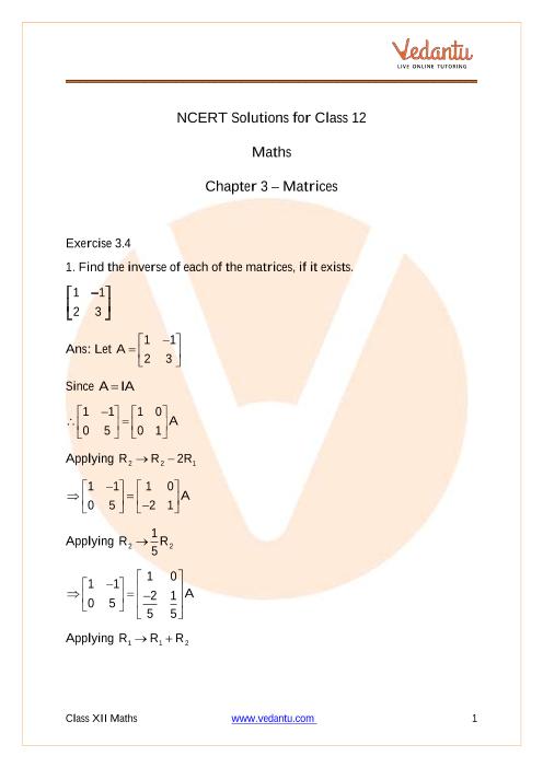 Access NCERT Solutions for Class 12 Maths Chapter 3 – Matrices part-1
