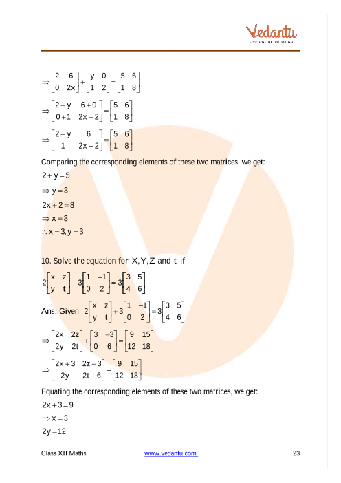 NCERT Solutions for Class 12 Maths Chapter 3 Matrices - Free PDF