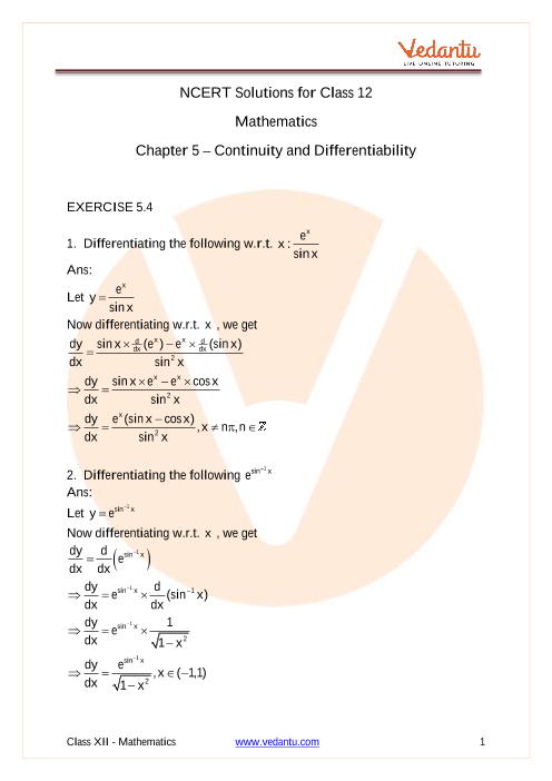 Access NCERT Solutions for Class 12 Maths Chapter-5 Continuity and Differentiability part-1