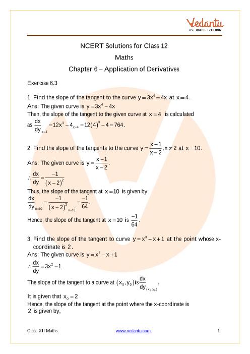 Access NCERT Solutions for Class 12 Maths Chapter 6 – Application of Derivatives part-1