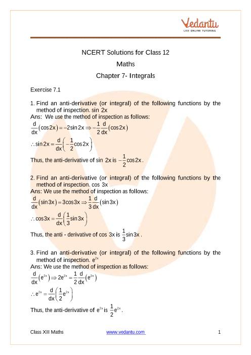 Access NCERT Solutions for Class 12 Mathematics Chapter 7- Integrals part-1