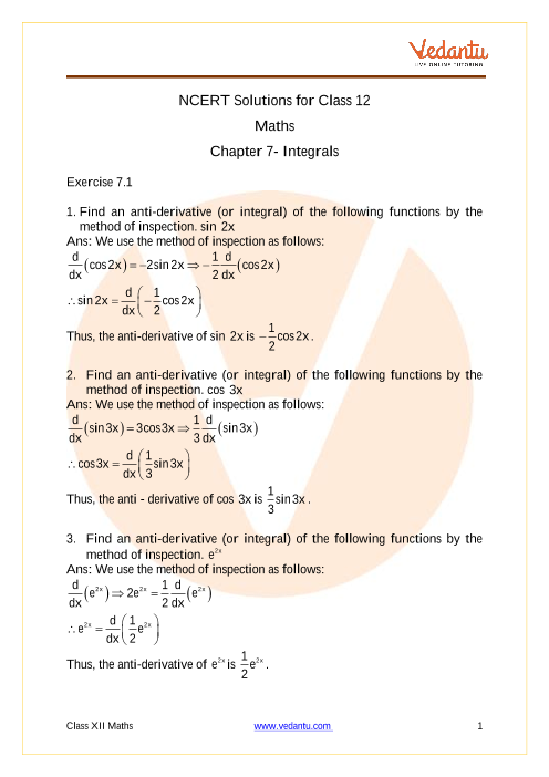 NCERT Solutions for Class 12 Maths Chapter 7 Integrals
