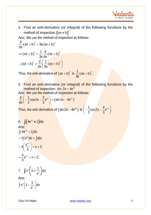 NCERT Solutions for Class 12 Maths Chapter 7 Integrals