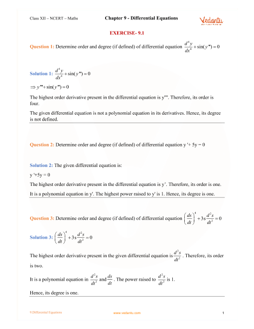 NCERT Solutions for Class 12 Maths Chapter 9 Differential Equations part-1