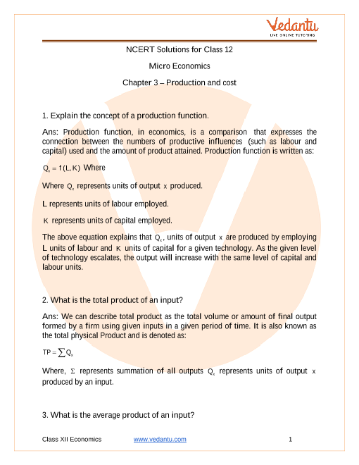 Access NCERT Solutions for Class 12 Micro Economics Chapter 3 – Production and cost part-1