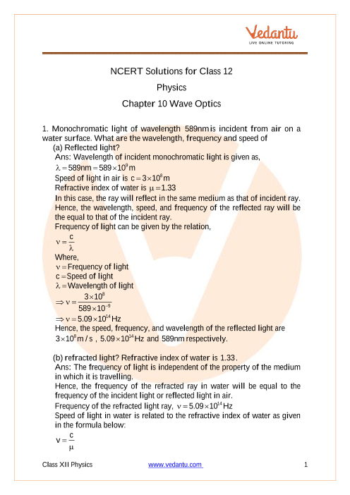 Access NCERT Solutions For Class 12 Physics Chapter 10- Wave Optics part-1