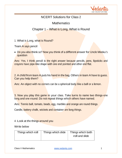 NCERT Solutions for Class 2 Maths Chapter 1 What is Long What is Round part-1