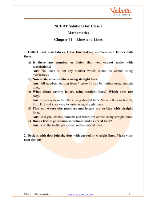 NCERT Solutions for Class 2 Maths Chapter 11 Lines and Lines part-1