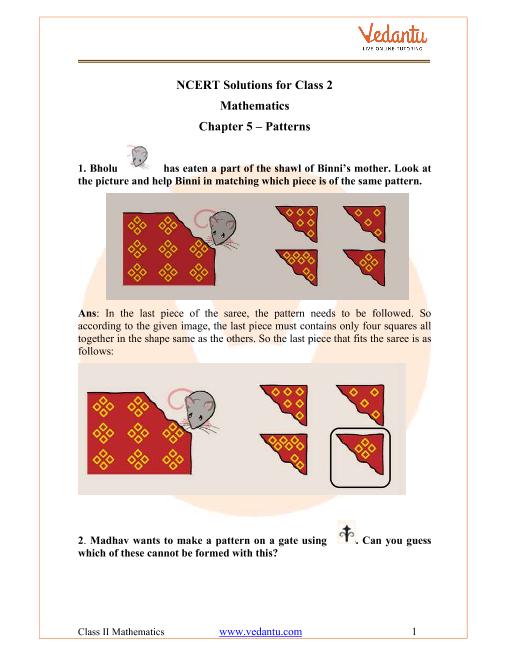 NCERT Solutions for Class 2 Maths Chapter 5 Patterns part-1