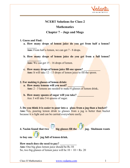 NCERT Solutions for Class 2 Maths Chapter 7 Jugs and Mugs part-1