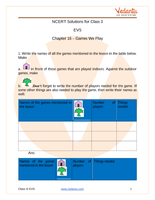 The Worksheet For Class 3 Evs Games We Play {Forum Aden}