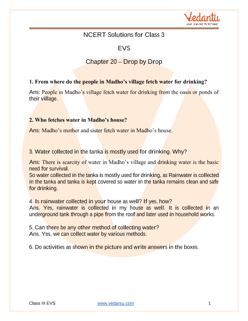 NCERT Solutions for Class 3 EVS Chapter 20 Drop By Drop part-1