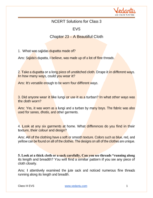 Access NCERT Solutions for Class 3 EVS  Chapter 23 –  A Beautiful Cloth part-1